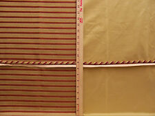 Craft Lot 3 Pieces Gold Red Green Striped Fabric w/ Cord Trim Shimmering Texture
