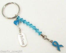 #5922 -- BLUE RIBBON AWARENESS HEART KEY CHARM KEY CHAIN -WOW!