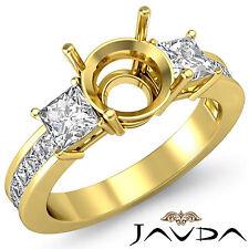 Three Stone Diamond Wedding Ring 14k Yellow Gold Princess Round Semi Mount 1.1Ct
