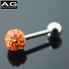 A single Orange cubic snow ball barbell earring stud piercing 18g US SELLER