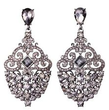Fashion Chic Grey Gray Diamante Crystal Statement Earrings Studs Drops Danglers