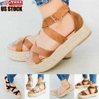 US Women's Ankle Strap Platform Wedges Sandals Ladies Summer Flatform Shoes Size