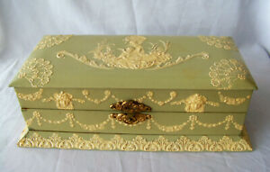 Antique Green Celluloid Vanity / Jewelry Box w Applied Decoration