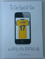 Personalised birthday card fils 17th papa oncle iphone toute équipe de football tout âge