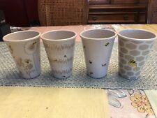 Set of 4 Busy Bees - plastic mini Flower pots by Debbie Taylor-Kerman