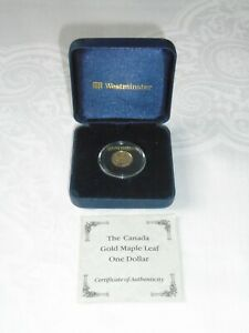Canada Maple Leaf One Dollar Pure Gold Coin ~ Westminster Presentation Case
