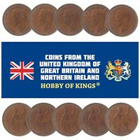 LOT OF 10 GREAT BRITAIN KING GEORGE VI 1 PENNY COINS OLD COLLECTIBLE 1937-1952