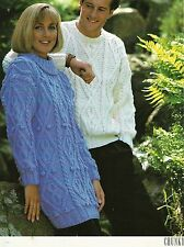 "#232 MAN'S LADIES CHUNKY CABLE SWEATER 32-46"" VINTAGE KNITTING PATTERN"
