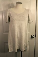 Mossimo Light Gray Short Sleeve Long Sweater W/ Lacy Knit Neck Line Size S