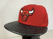 NBA Chicago Bulls New Era 59Fifty Red & Reptile Peak Fitted Cap Hat 7 1/4 NEW