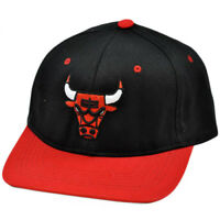 NBA Adidas Chicago Bulls Black Red White Flat Bill Snapback Hat Cap Licensed