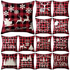 "18"" Us Christmas Santa Retro Cushion Covers Xmas Pillow Cases Sofa Home Decor"