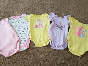 Lot Of 5 Toddler Girl Bodysuits Size 24 Months,  Unicorn, Justice League