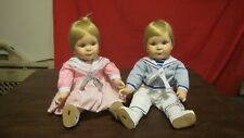 "Vintage Danbury Mint Dolls-Twins-Meg and Michael-Jennifer Schmidt 10"" Sitting"
