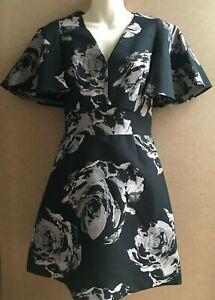COAST Black Jacquard Pop On Short Dress  RRP £129  UK8, 10, 12, 14