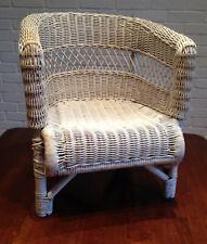 STURDY Child's Vintage White Wicker Chair