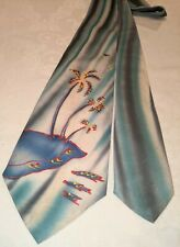 1940s 50s Hand-Painted Beach Palm Trees Island Swing Atomic Neck Tie Cravat