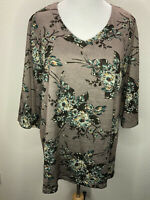 Women's Catherines 1X Soft Brown Teal Floral 3/4 Sleeve Top Blouse Plus Size