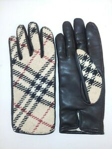 BURBERRY Made in Italy,Wool/Cashmere/Leather Nova Check Women's Gloves,Size7,5