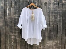 White Linen Prairie Blouse Bohemain free size one size fits all