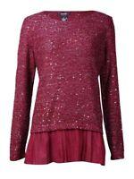 Alfani Women's Metallic Sequined Chiffon Hem Sweater M, New Burgundy