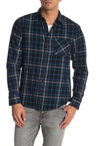 Public Opinion Plaid Flannel Long Sleeve Regular Fit Shirt Black/Teal Brit