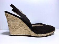Michael Kors Vivian Slingback Wedge Sandal US 9.5 Black Canvas Jute-Wrapped Heel