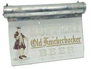 EARLY VINTAGE RUPPERT KNICKERBOCKER BEER  BAR DISPLAY LIGHT UP ETCHED GLASS SIGN