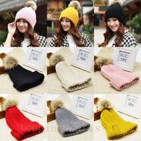 Winter Warm Hat Women Braided Crochet Wool Knit Beanie Beret Ski Ball Cap Baggy