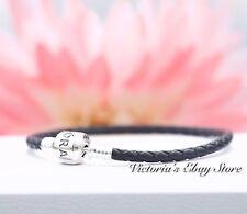 Authentic Pandora Moments Single Leather Bracelet Black 590705CBK-S2 7.5 inch