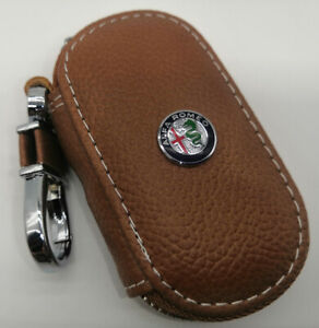 Cowhide leather Car Key Holder Keychain Ring Case Bag Fit For Alfa Romeo Car
