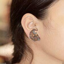 Gemstone Tiger Eye Carved Stud Earrings 925 Silver Diamond Pave 14k Gold Jewelry