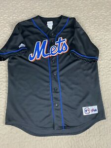 New York Mets Majestic Black Baseball Jersey Mens Sz L MLB Vintage