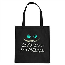 CHESHIRE CAT TOTE BAG , MAD HATTER THEME BAG , ALICE IN WONDERLAND  , CAT QUOTE