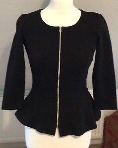 Madeleine Blazer Jacket Size 8 Full Zip front Peplum
