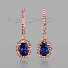 18k Rose Gold 2.23ct Natural Sapphire Engagement Diamond Gemstone Earrings