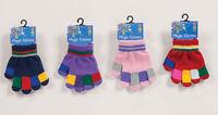 CHILDRENS KIDS GIRLS - MAGIC STRIPE GLOVES - MULTI FINGER WINTER GLOVES PRE541