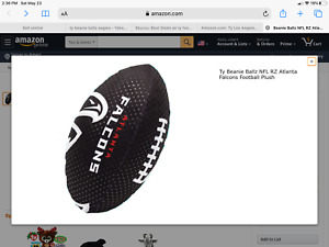 "Atlanta Falcons TY Beanie Ballz Rush Zone 11""  Football New With Original Tags"