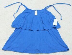 New Time & Tru Blue Tank Top T-Shirt Size XL Woman's Tee Rayon Spandex Women's