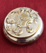 Antique Silver Plated Art Nouveau Pill/Snuff Box With Mistletoe Design c.1890's