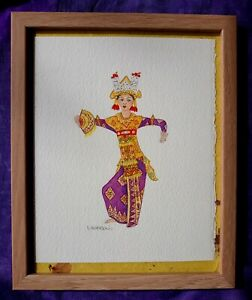 BALINESE DANCER WATERCOLOR. NEW. EVALOU ART.  *GREAT GIFT IDEA!*
