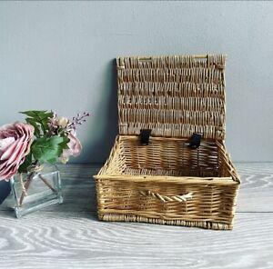 Medium Sized Lidded Wicker Basket Home Decor Hamper