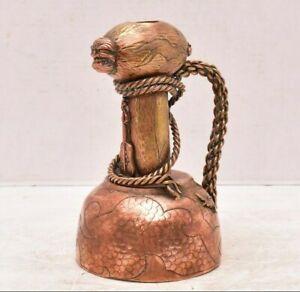 Antique Japanese Candlestick Candle Holder MIXED METAL hammered art Meiji