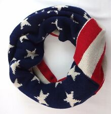 Patriotic infinity scarf stars stripes red off white navy blue acrylic USA LOF