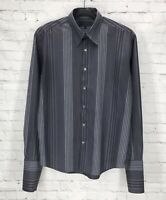 TED BAKER Men's Gray Black Striped French Cuff Dress Shirt Size 6
