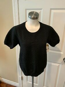 Vince Black Textured Knit Short Puff Sleeve Sweater, Size Small