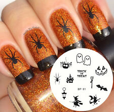 1Pc BORN PRETTY BP81 Nail Art Stamping Image Plate Nail Stencil Halloween Witch