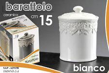 BARATTOLO CERAMICA DECORATO BIANCO 15CM SAP 629198