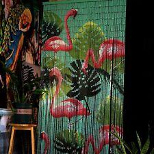 Flamingo Beaded Bamboo Curtains Decor Panel Drape Window Divider Wall Arts