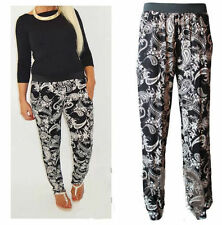 Womens Ladies Paisley Floral Print Loose Baggy Fit Harem Trouser Pants Plus Size